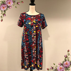 LulaRoe Carly geometric multicolored Dress
